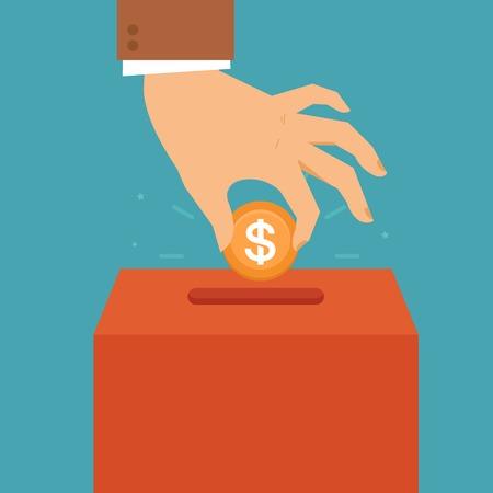 Concepto de donación del vector en estilo plana - mano que pone la moneda en el cuadro de organización de la caridad