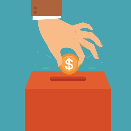 Donations: Vector donation concept in flat style - hand putting coin in the box for charity organization