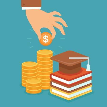Vector đầu tư trong khái niệm giáo dục theo phong cách phẳng - đống tiền xu và đặt phòng với chiếc mũ đại học