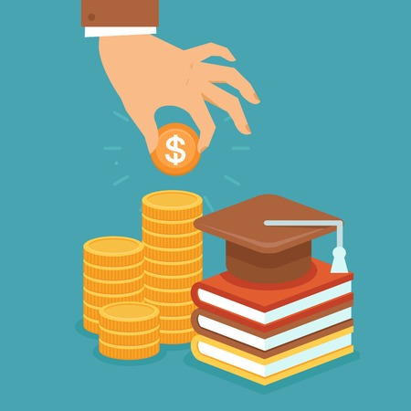 business savings: Vector invest in education concept in flat style - stack of coins and book with university hat