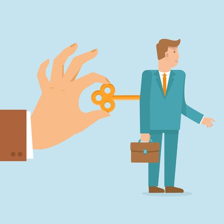 stimulus: Vector work concept in flat style - hand turns on clockwork on the businessman