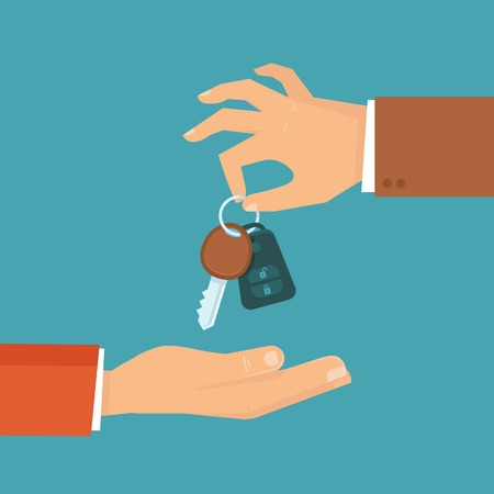 hand: car rental or sale concept in flat style