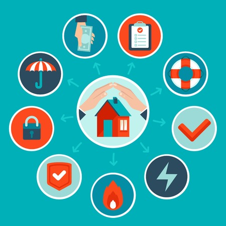 protect home: house insurance concept in flat style