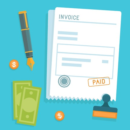 accounting icon: invoice concept in flat style