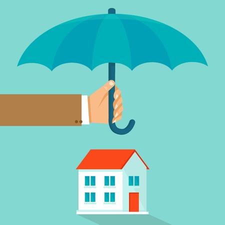 플랫 스타일의 집 보험 개념