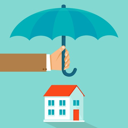 haus: Haus Versicherungskonzept in flachen Stil