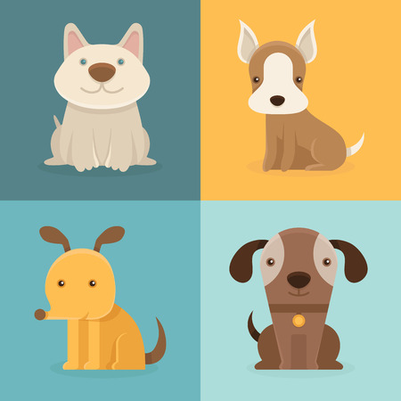 pets: Vector set of cartoon dogs in flat style - funny and smiling small pets - illustrations and design elements for infographic