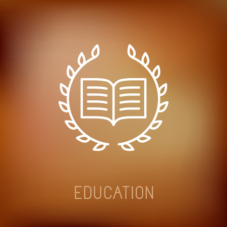 Vector line book icon with wreath - education concept and logo design element Illustration
