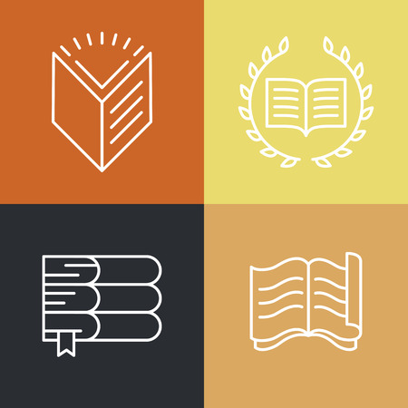 stack of documents: Vector set of outline education logos and icons - trendy emblems and design elements for courses, classes and schools Illustration