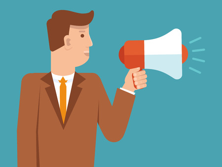 promote: Vector marketing and advertising concept in flat style - businessman holding loudspeaker