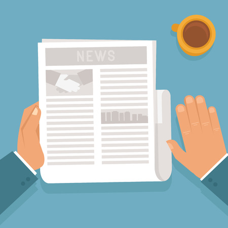 articles: Vector concept in flat style - man reading a newspaper with business articles and drinking coffee Illustration