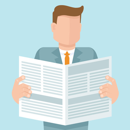 Vector concept in flat style - man reading a newspaper with business articles Illustration