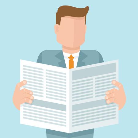 Vector concept dans le style plat - homme lisant un journal avec des articles d'affaires