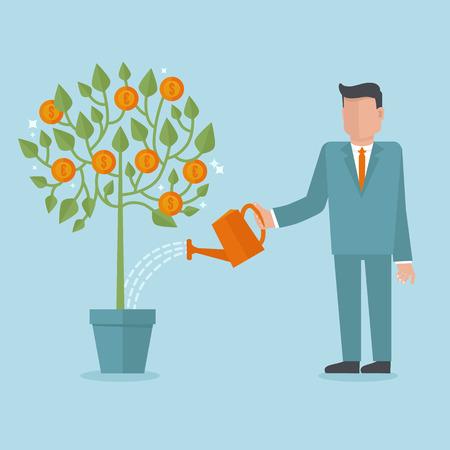 Begrip vector investering in vlakke stijl - zakenman drenken geldboom
