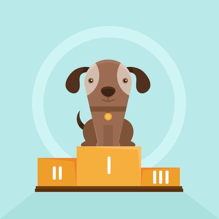 primer lugar: Vector del perrito gracioso lloriquear en una demostración de perro - ilustración plana - sonriente mascota en el primer lugar del pedestal