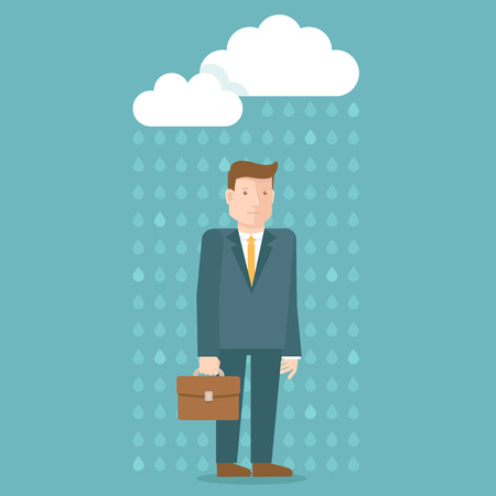 hard rain: Vector bad day concept in flat style - businessman under the rain cloud - depressed and tired