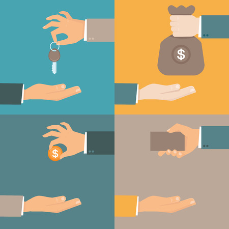 giving money: Vector business concepts in flat style - hands giving and receiving earnings, charity, keys and card - exchange and barter