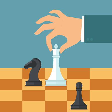 Vector business strategie concept in de vlakke stijl - mannelijke hand houden schaakcijfer - planning en beheer Stock Illustratie