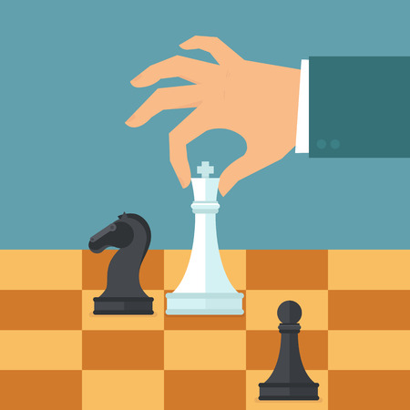 competitive: Vector business strategy concept in flat style - male hand holding chess figure - planning and management