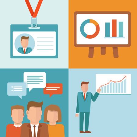 conversaciones: Conceptos conferencias vectorial en estilo plano - conjunto de iconos - orador público, equipo, Identificación y pantalla de presentación Vectores