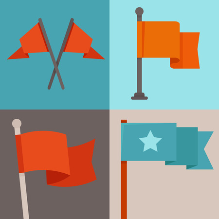 waving flag: Vector set of flag design elements - flafpoles and ribbons