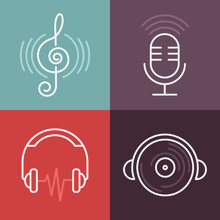 radio dj: Vector musical logos and icons in outline style - set of design elements - music and audio concepts