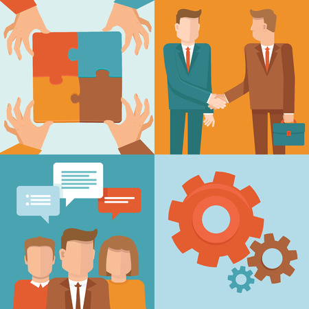 negotiate: Vector teamwork and cooperation concepts in flat style - business and partnership infographic design elements
