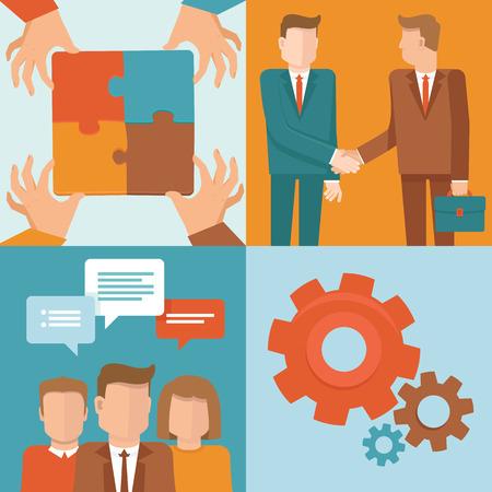 Vector teamwork en samenwerking concepten in vlakke stijl - zakelijke en partnerschap infographic design elementen