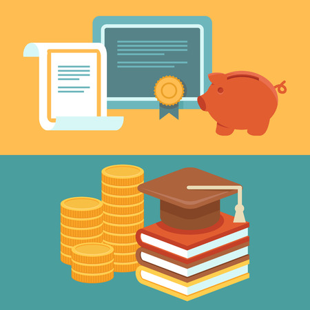 stack of coins: Vector invest in education concept in flat style - stack of coins and book with university hat