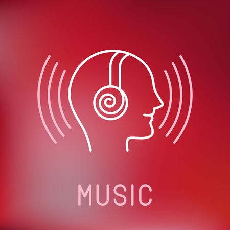 Vector music logo in outline style - head with headphones Vector
