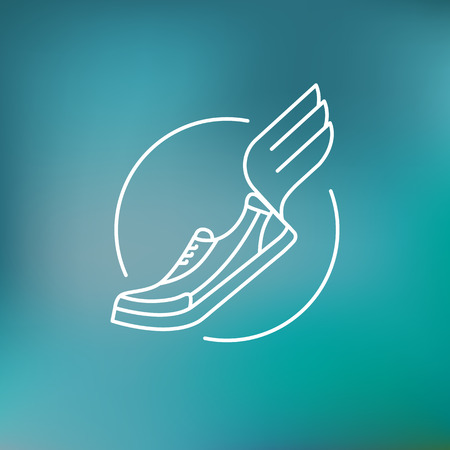 un: Vector running icon in outline style - running shoe with wing - marathon emblem