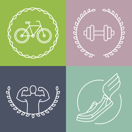 sport body: Vector sport icons in outline style - set of badges and design elements for fitness clubs Illustration