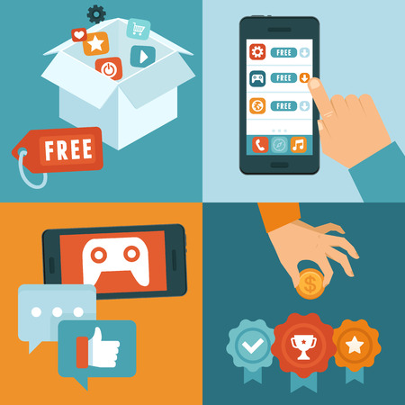 features: Vector infographic depicting freemium business model - free of charge and free to play apps and games - paying for extra features and services - conceptual illustration in flat style