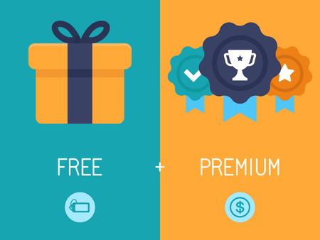 free trial: Vector infographics depicting freemium business model - free of charge and free to play apps and games - paying for premium features and services - conceptual illustration in flat style