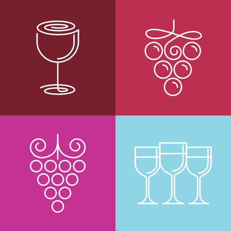 Vector wine line icons- set of outline emblems and design elements for vineyard Vector