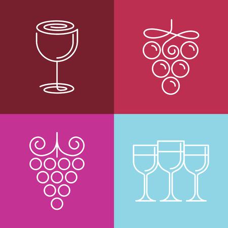 vineyard: Vector wine line icons- set of outline emblems and design elements for vineyard Illustration