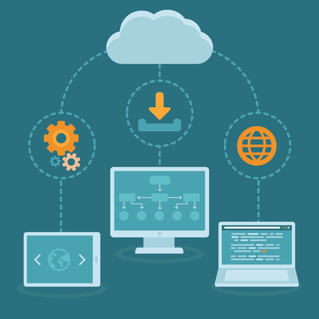 Vector SaaS concept in flat style - software as a service business model - cloud computing Çizim