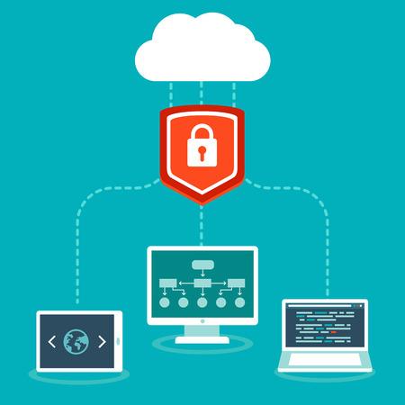 protected database: Concepto SaaS vectorial en estilo plano - el software como un modelo de negocio de servicios - la computaci�n en nube y la protecci�n de datos
