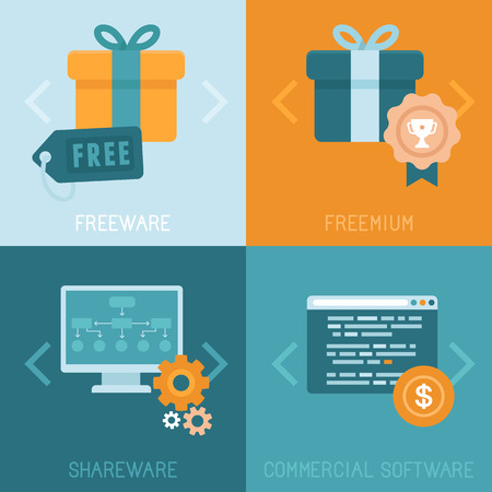 shareware: Vector infographics and icons in flat style - different business models of distributing apps and software - freeware, freemium, shareware and commercial software Illustration