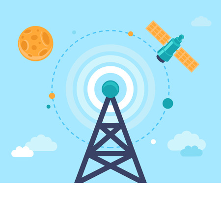 satellite transmitter: Vector antenna tower and satellite icons in flat style - global communication concept