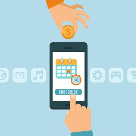 플랫 스타일의 벡터 구독 비즈니스 모델 개념 - 버튼 가입 휴대 전화 - 월 단위 구독 가능 앱 또는 서비스 일러스트
