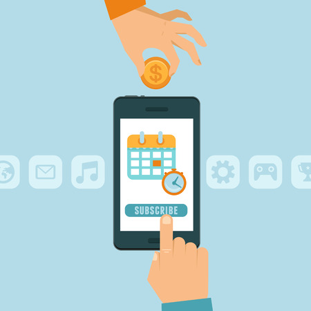 Vector Abonnement concept in de vlakke stijl - mobiele telefoon met subscribe knop - app of service beschikbaar op maandelijkse abonnementsbasis Stockfoto - 33102688