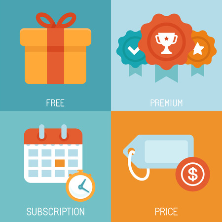 fee: Vector set of flat icons - distribution of digital content - different business models - free, premium, subscription Illustration
