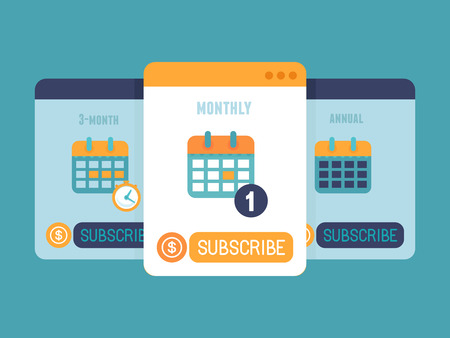 subscription: Vector subscription business model concept in flat style - pricing plan for app or website service