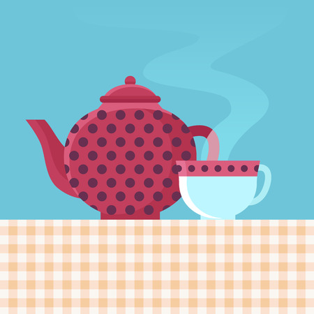 dring: Vector tea pot and cup with hot dring - illustration in flat style Illustration