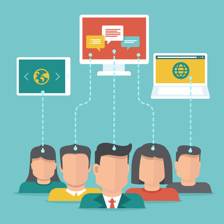 Vector user generated content concept in flat style - users uploading digital content Illustration