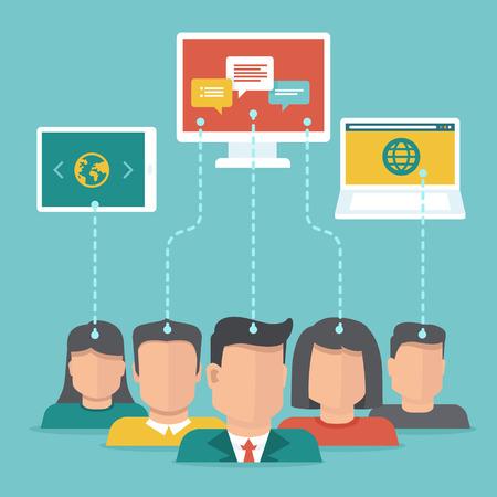 Usuario vectorial generado concepto contenido en el estilo plano - los usuarios subir contenido digital Ilustración de vector