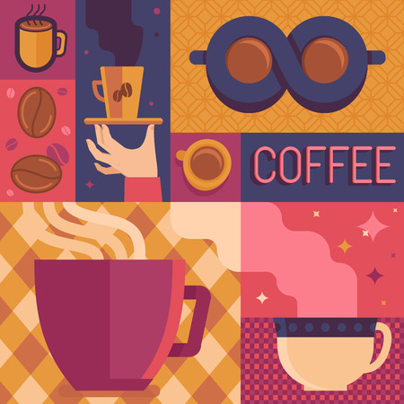 Vector coffee poster or greeting card template in flat retro style - illustration for coffee shop or cafe Vector