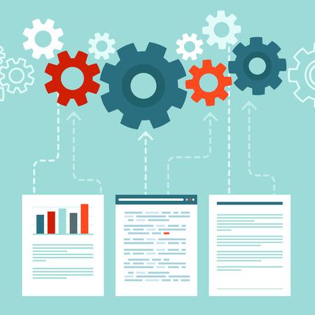 Notion vecteur du traitement des données dans le style plat - analyse, le téléchargement et l'agrégation éléments d'informations Banque d'images - 33345489
