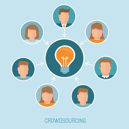 participacion: Concepto del vector crowdsourcing en estilo plano - grupo abstracto de personas que participan en la generaci�n de nuevas ideas y soluciones Vectores